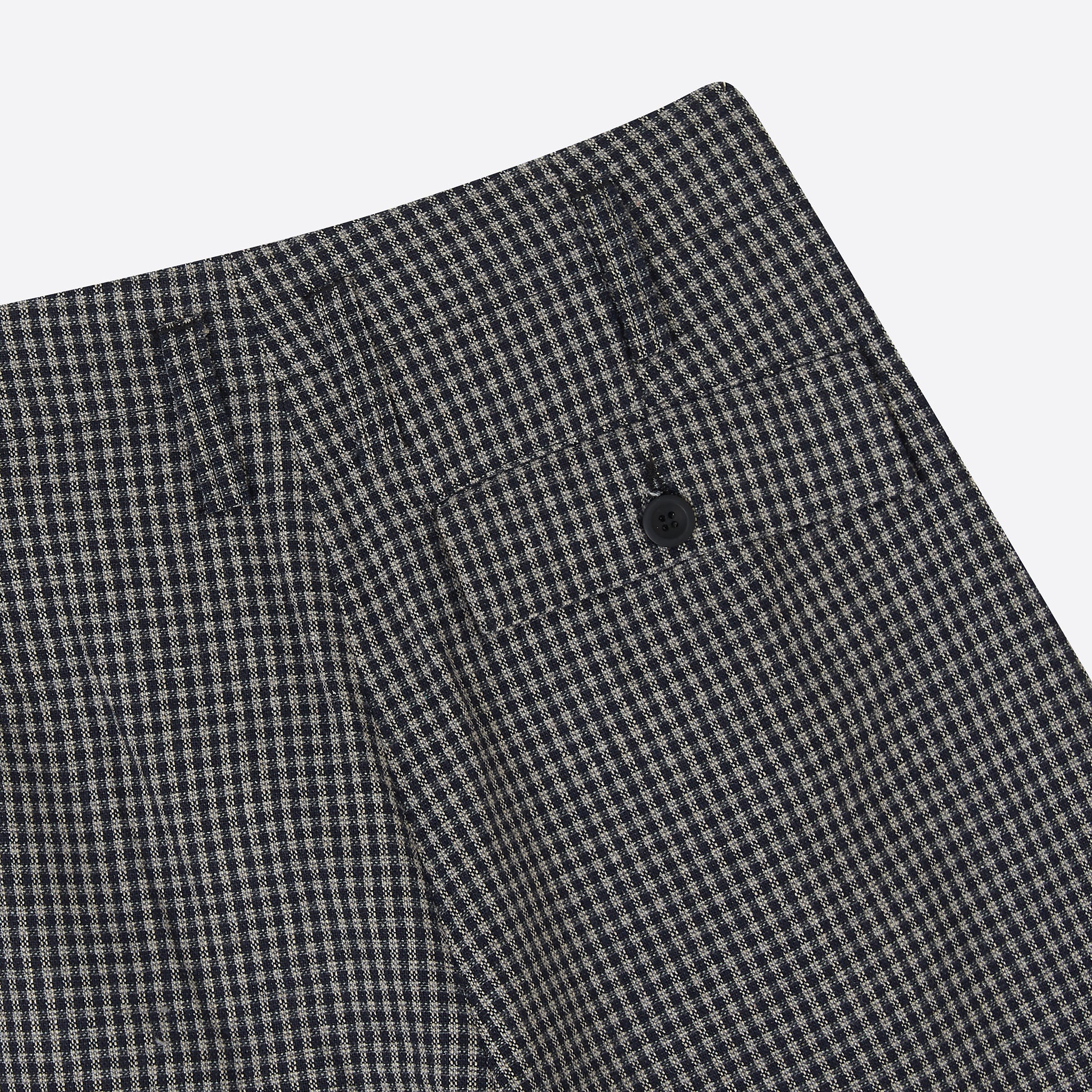 Folk Double Pleat Tailored Trouser in Navy Mini Check