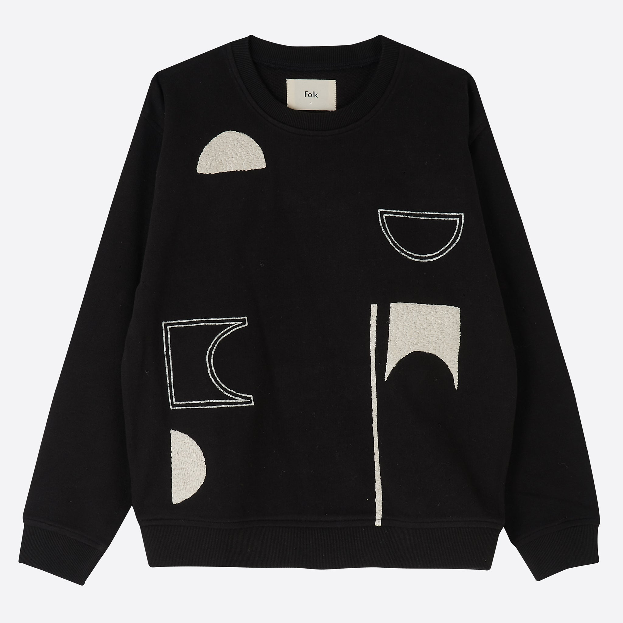 Folk Modular Sweat in Black Ecru