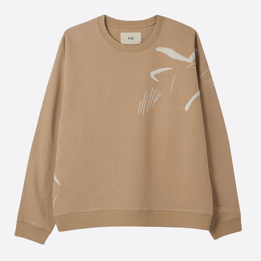 Folk Charm Sweat in Stone Ecru