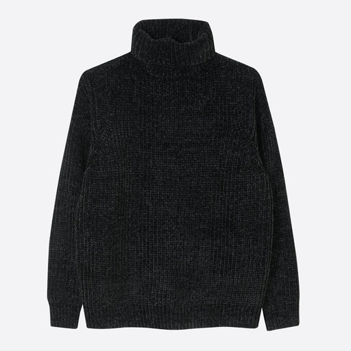Folk Chenille Roll Neck in Black