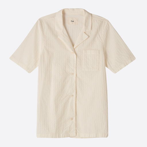 Folk Short Sleeve Soft Collar Shirt in White