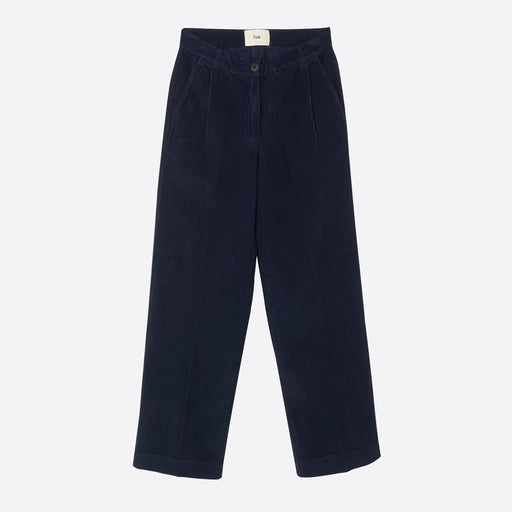 Folk Long Wide Cord Trousers in Navy