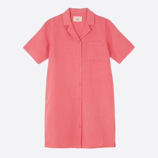 Folk Soft Collar Dress in Hot Pink