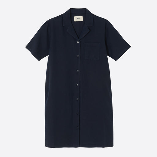 Folk Soft Collar Dress in Navy
