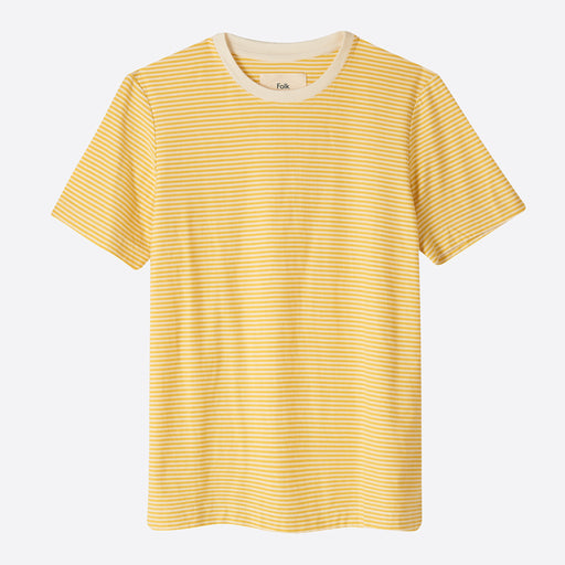 Folk Stripe Tee in Light Gold / Ecru