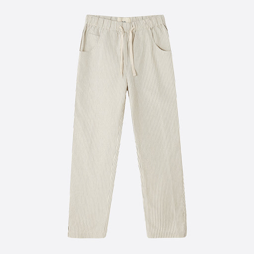 Folk Draw Pant in Ecru with Black Stripe