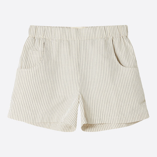 Folk Shorts in Ecru with Black Stripe