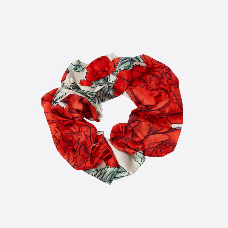 Ganni Silk Stretch Satin Scrunchie in Floral