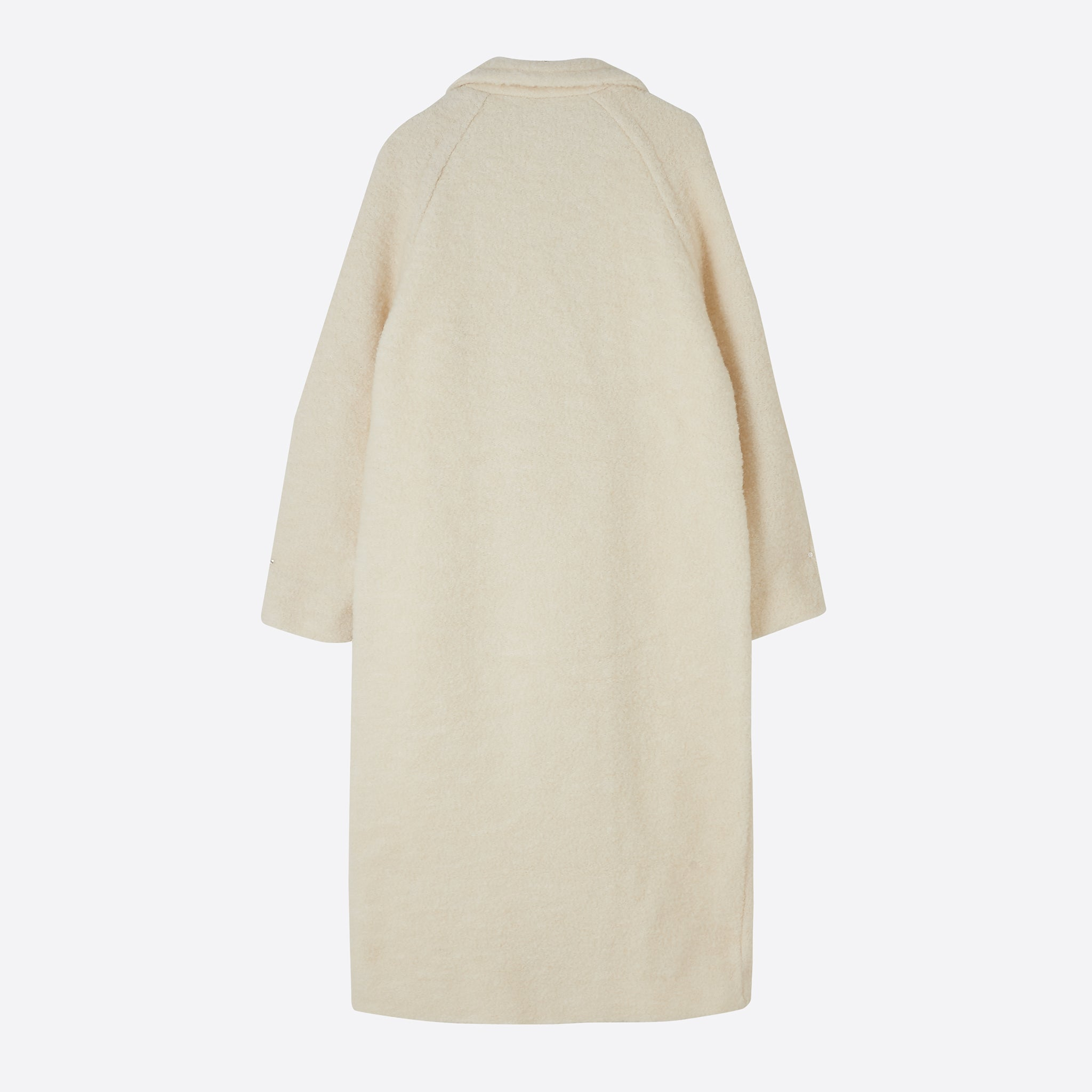 Ganni Boucle Wool Long Wrap Coat in Egret