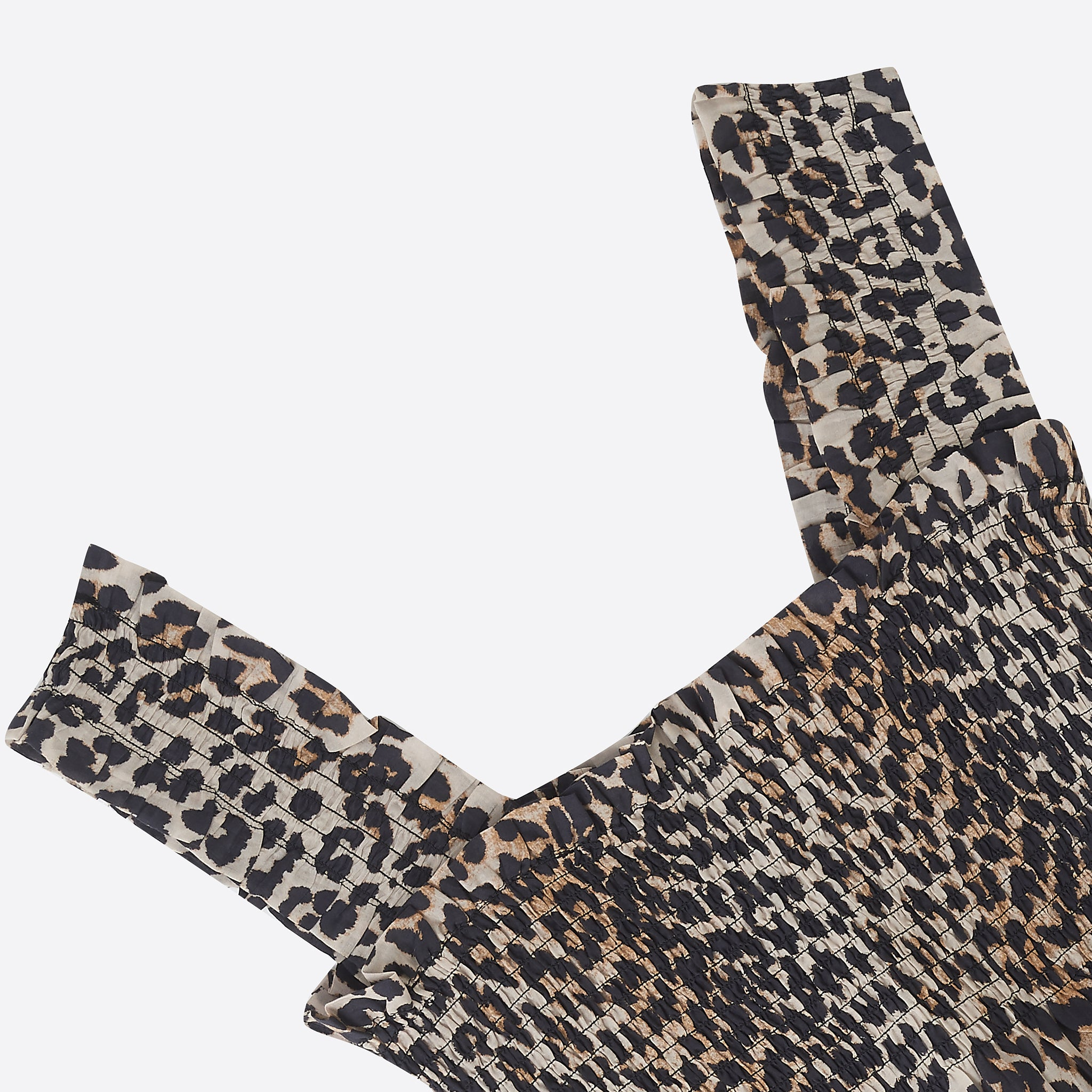Ganni Cotton Silk Smock top in Leopard Print
