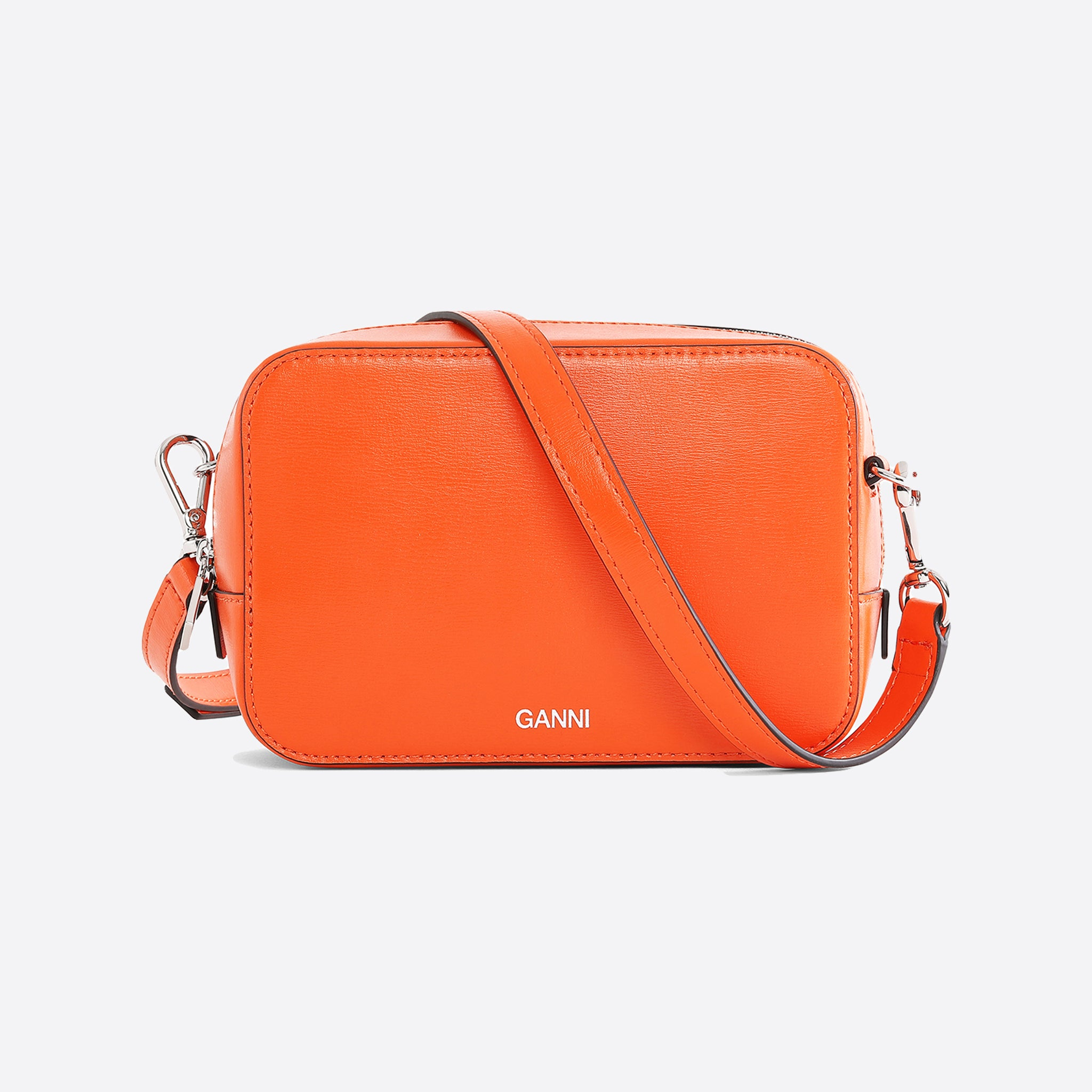Ganni Textured Leather Bag in Dragon Fire