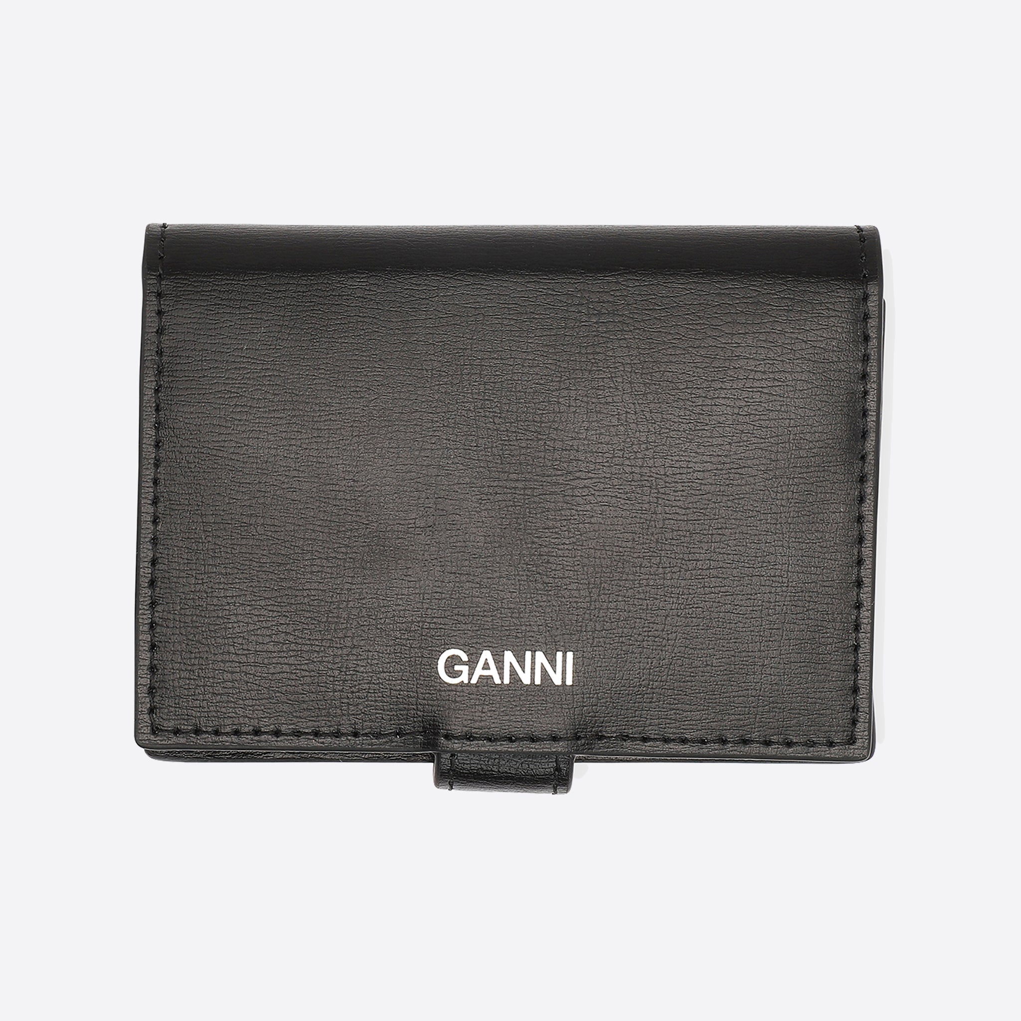 Ganni Textured Leather Mini Wallet in Black