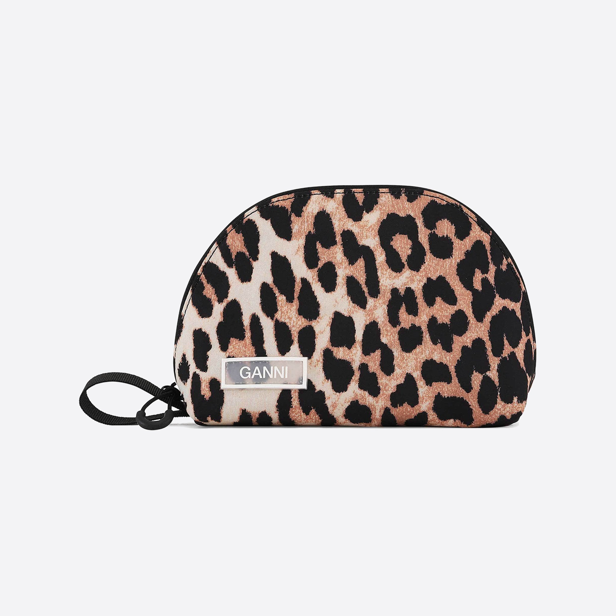 Ganni Tech Fabric Toiletry Bag in Leopard