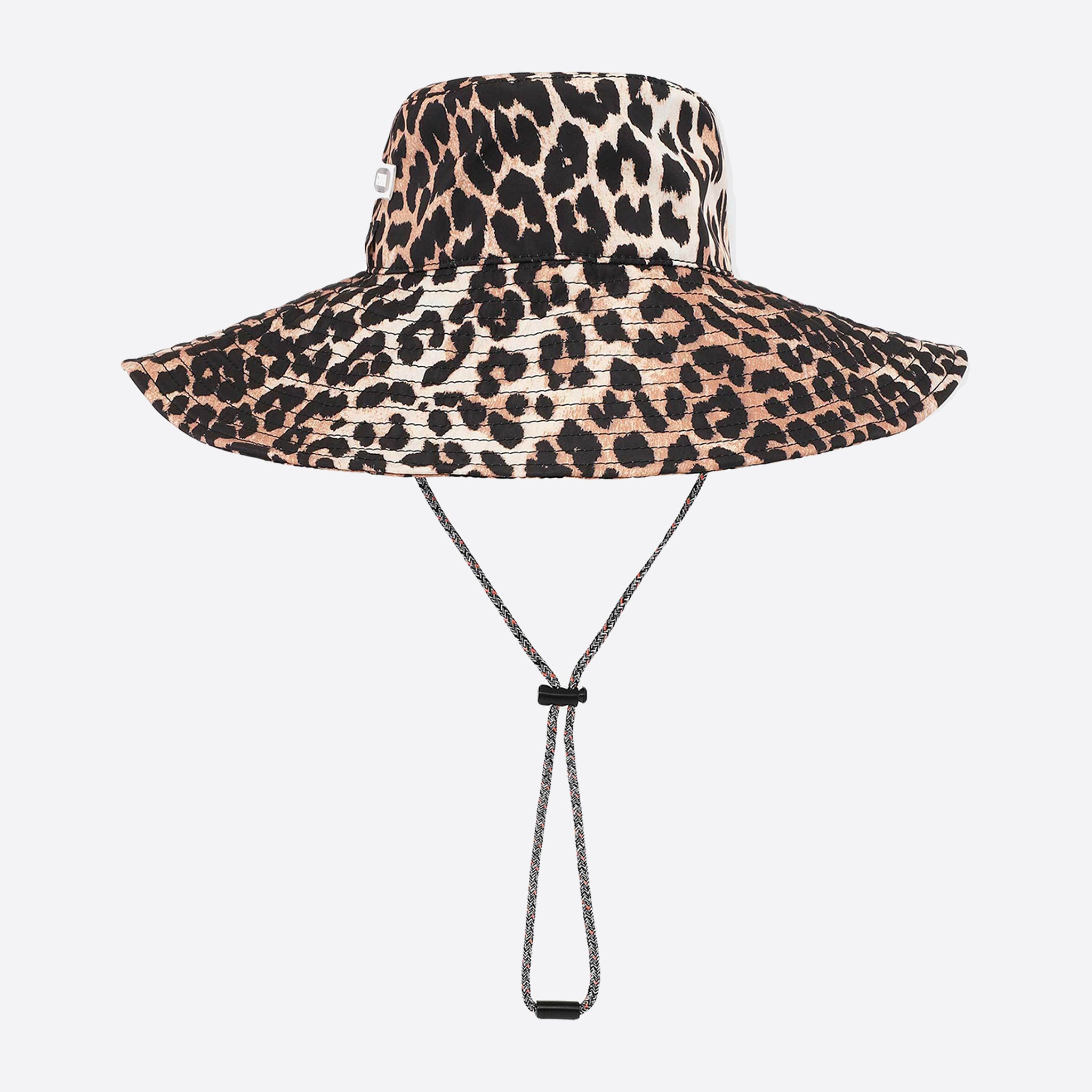 Ganni Tech Fabric Hat in Leopard