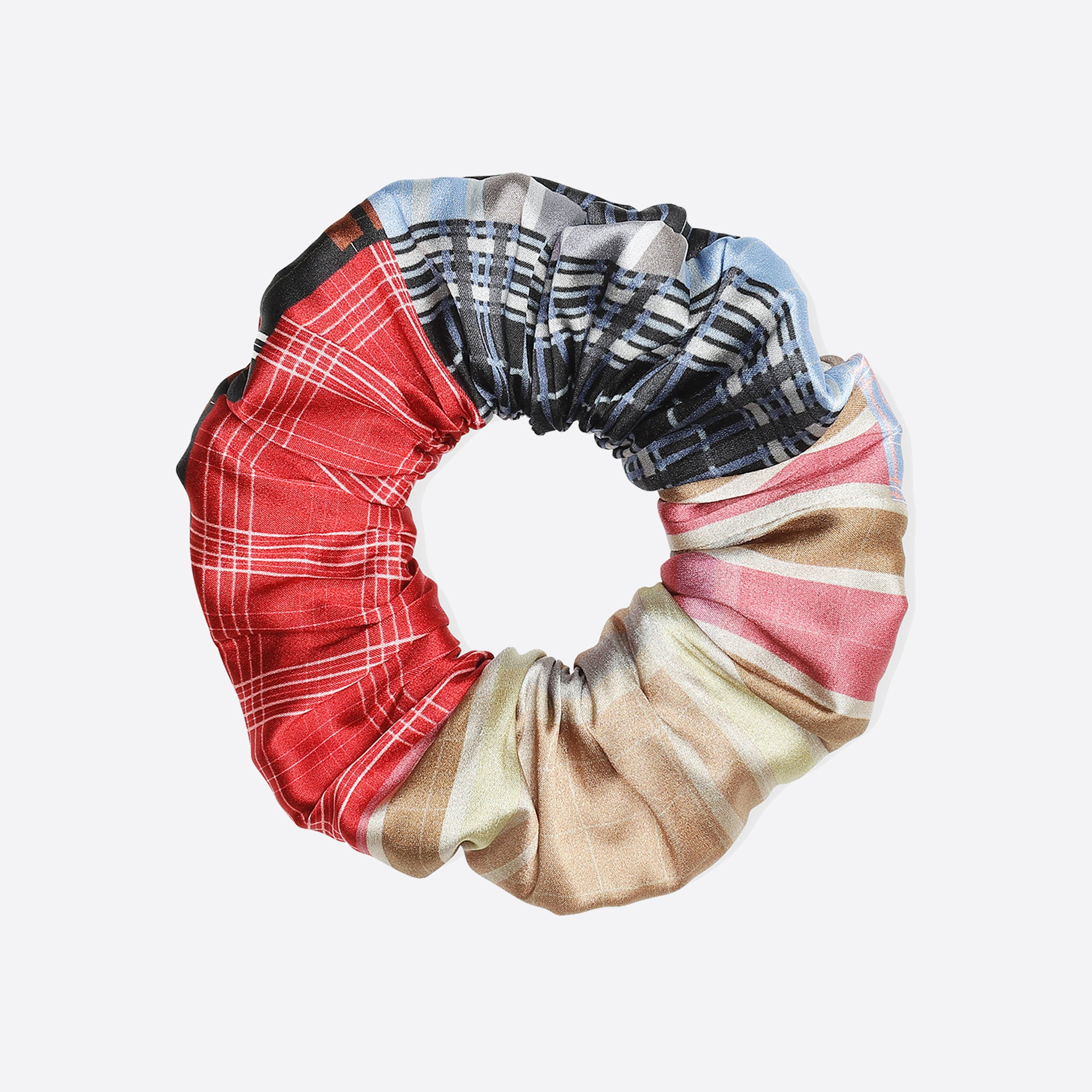 Ganni Silk Stretch Satin Scrunchie in Forever Blue