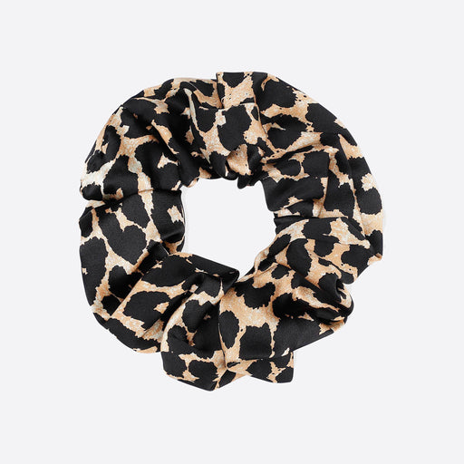 Ganni Silk Stretch Satin Scrunchie in Leopard