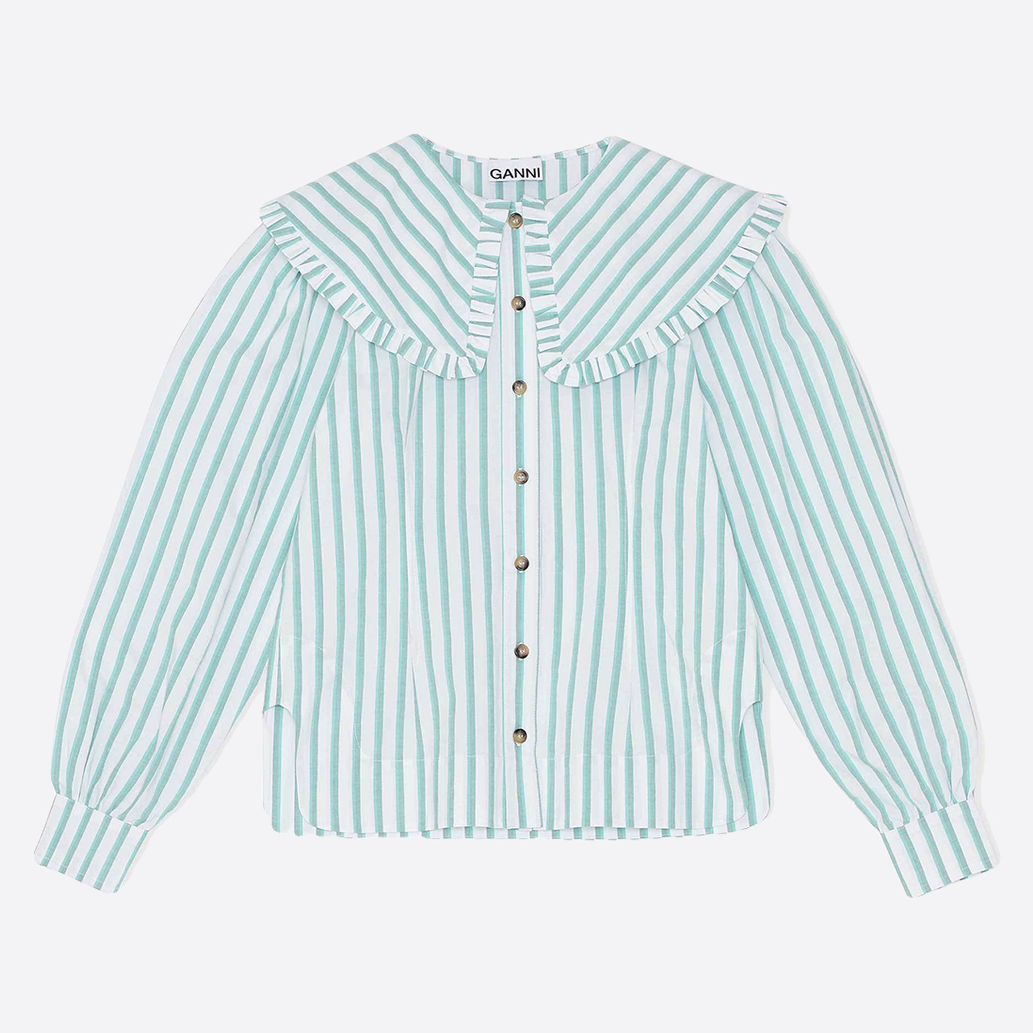 Ganni Feathery Cotton Shirt in Kalamata Stripe