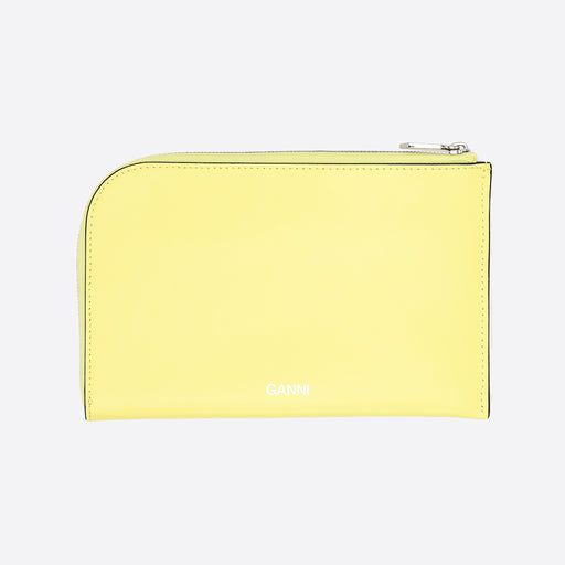 Ganni Textured Leather Wallet in Lemon