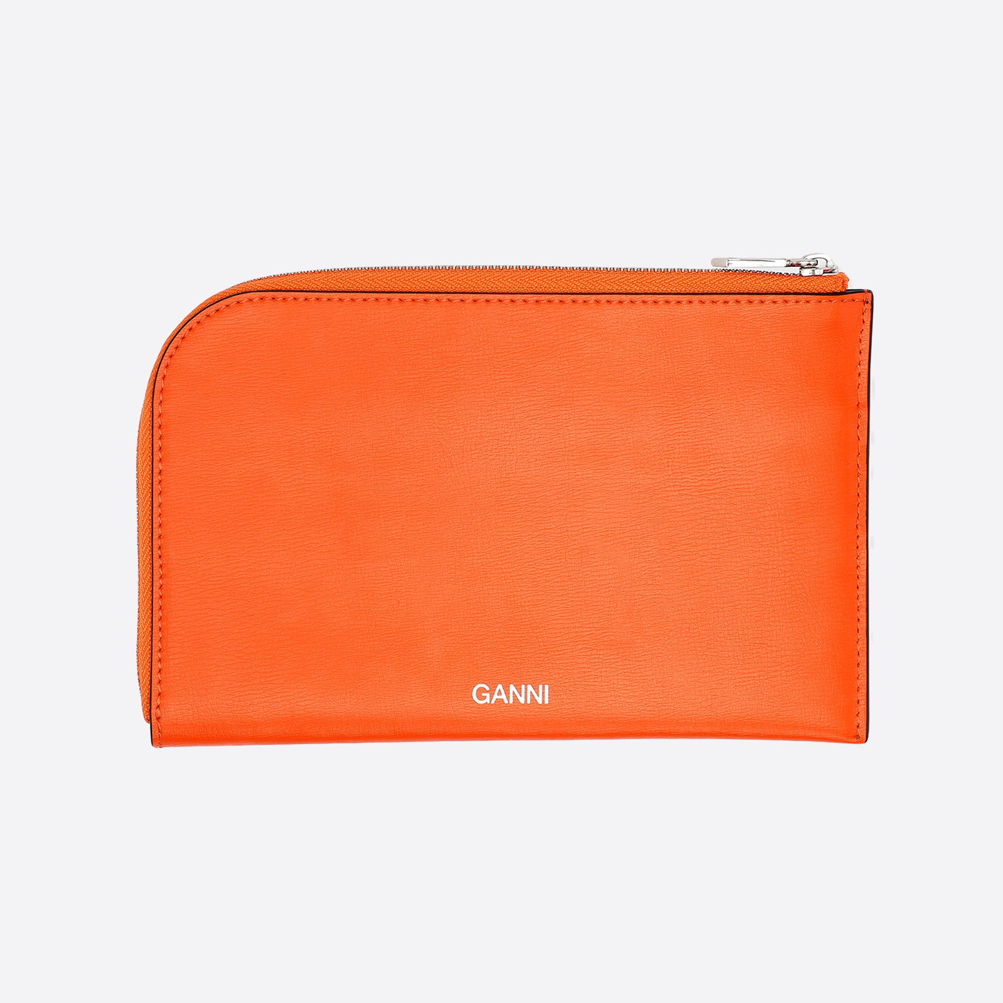 Ganni Textured Leather Wallet in Dragon Fire
