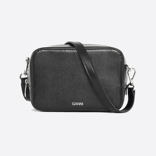 Ganni Textured Leather Bag in Black