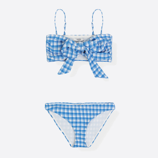 Ganni Jewett Seersucker Wrap Bikini in Lapis Blue