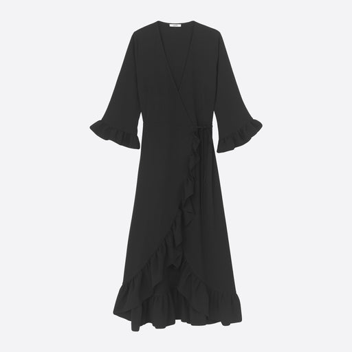 Ganni Heavy Crepe Wrap Dress in Black