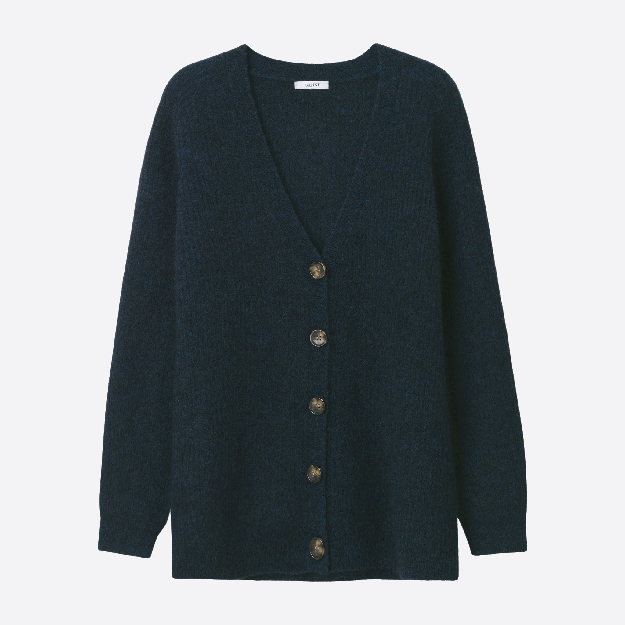 Ganni Callahan Soft Wool Knit Cardigan in Total Eclipse