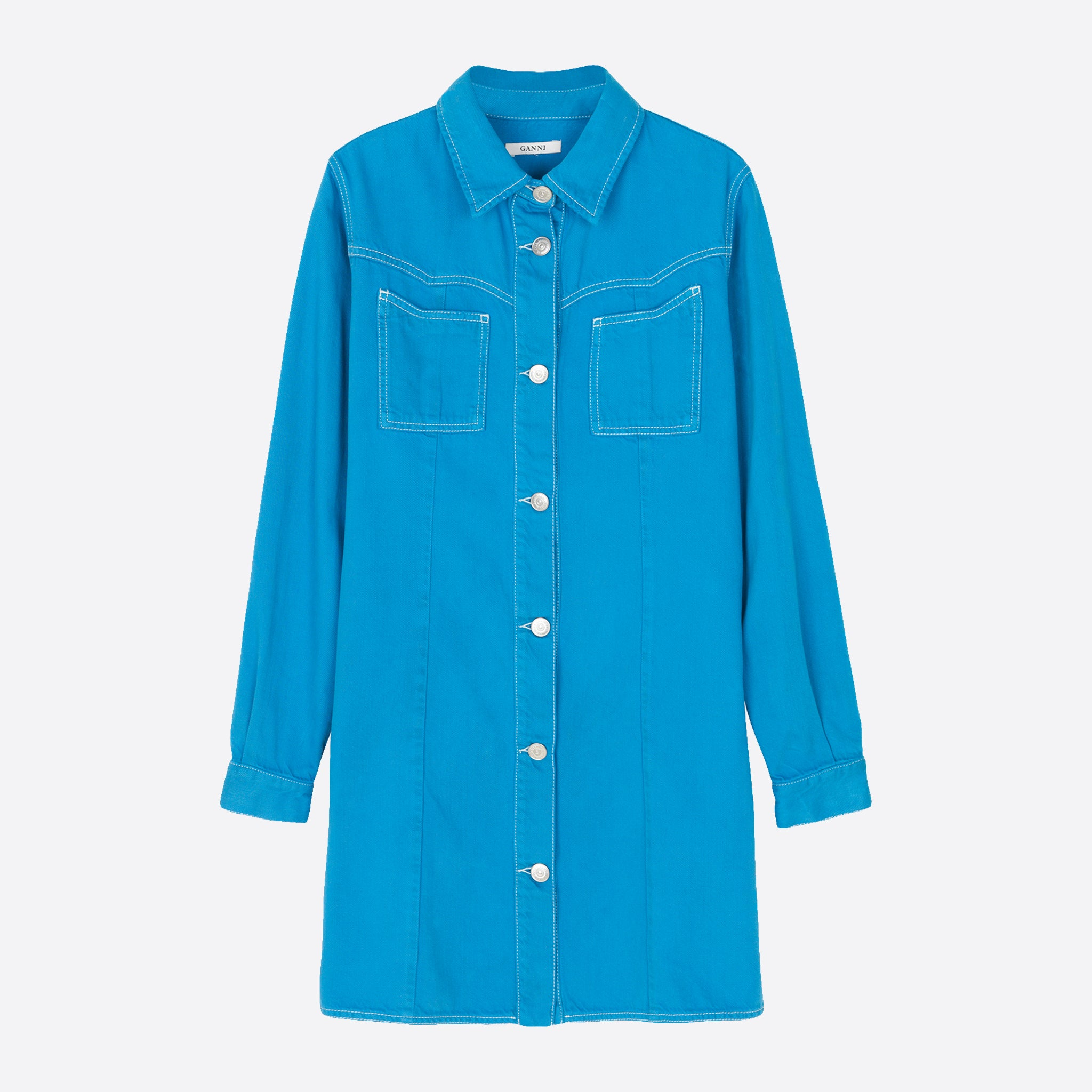 Ganni Kress Shirt Dress in Over-dyed Lapis Blue