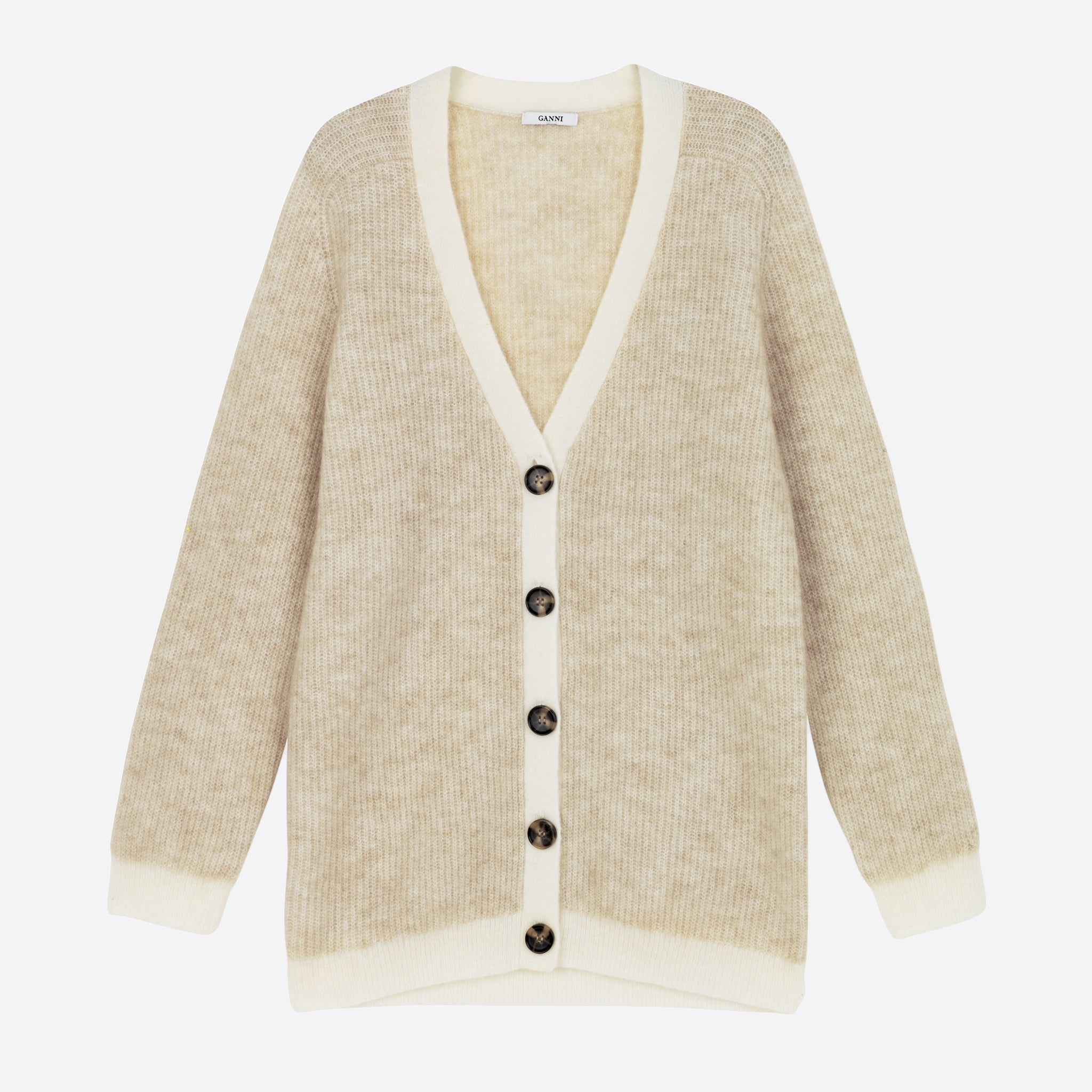 Ganni Soft Wool Knit Cardigan in Tapioca