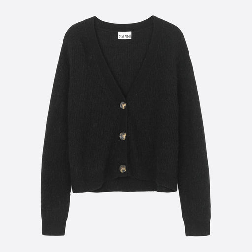 Ganni Soft Wool Knit Cardigan in Black