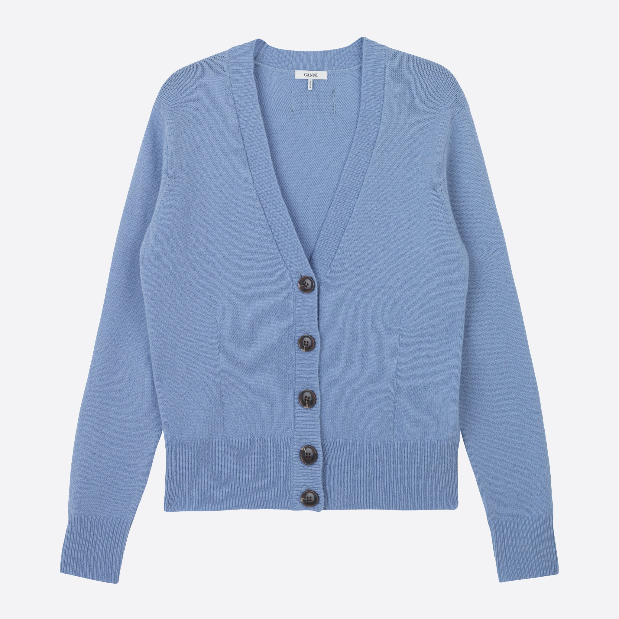 Ganni Wool Knit Cardigan in Forever Blue