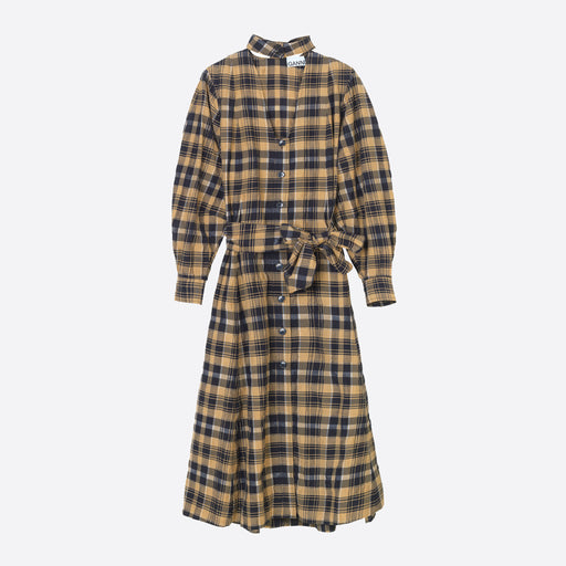 Ganni Seersucker Check Shirt Dress in Tiger's Eye