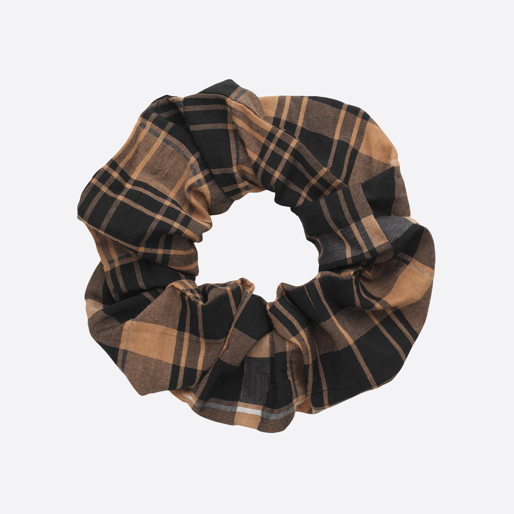 Ganni Seersucker Check Scrunchie in Tiger's Eye