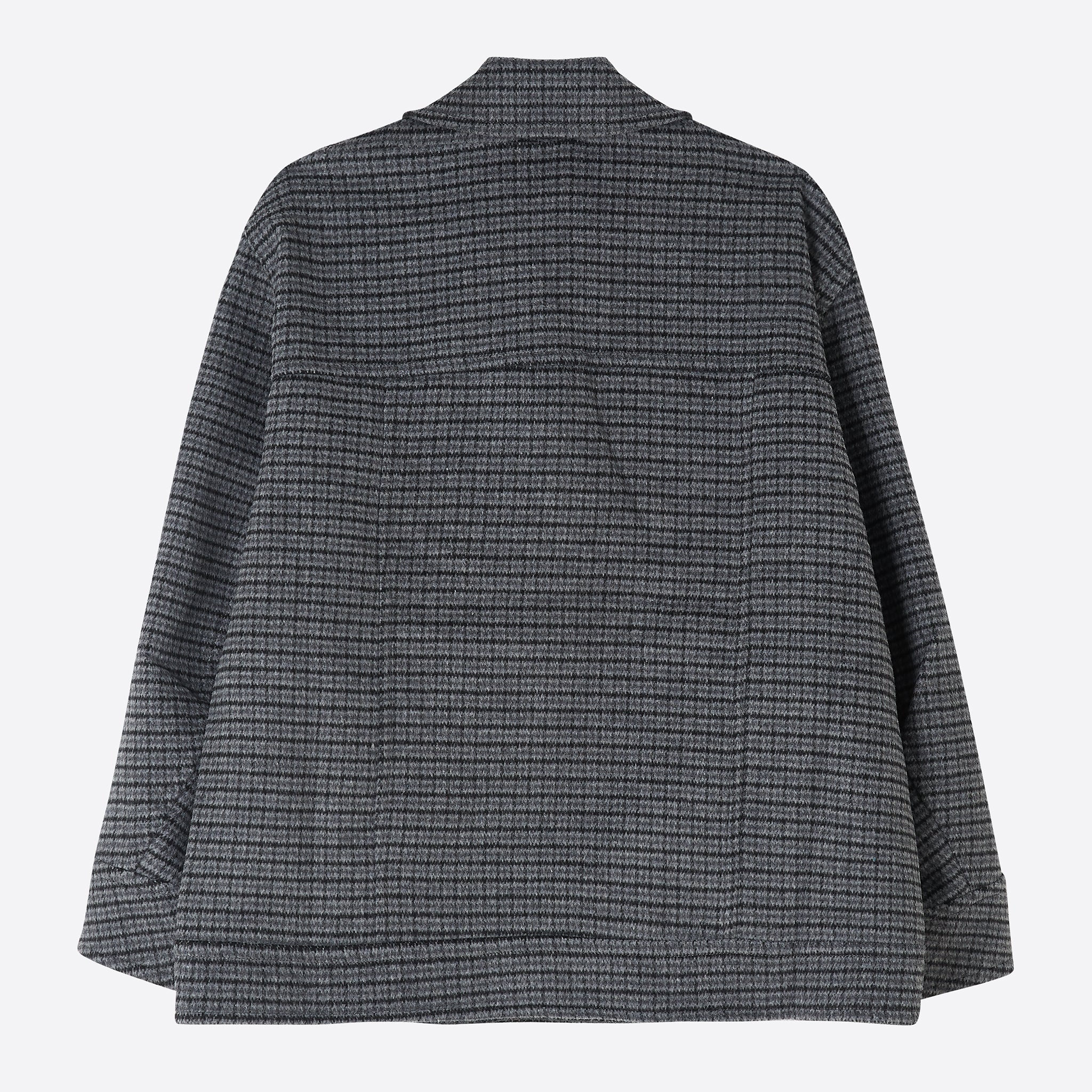 Ganni Check Wool Oversize Jacket in Charcoal Grey