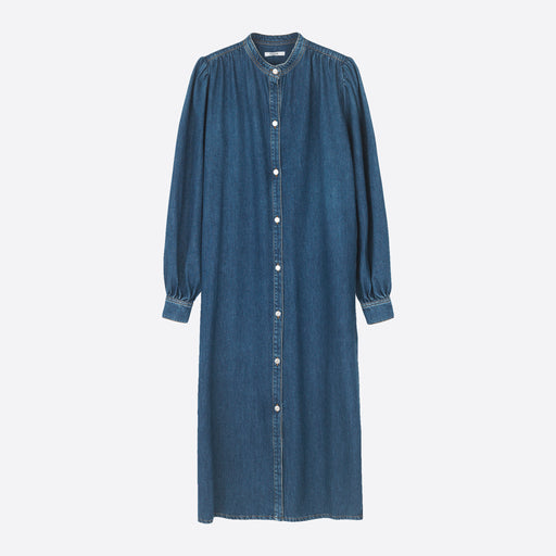 Ganni Kress Soft Denim Dress in Medium Dark Denim