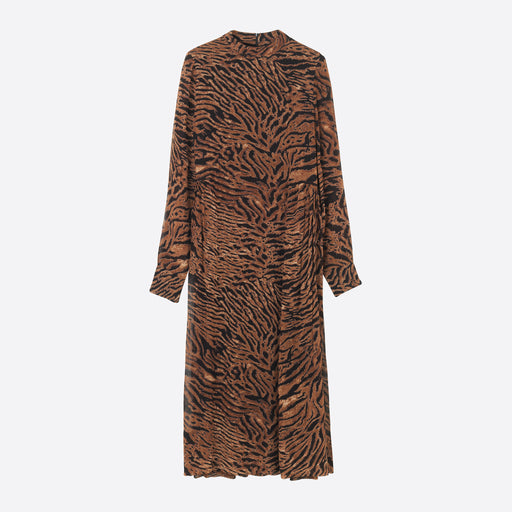 Ganni Printed Georgette Midi Dress in Tiger