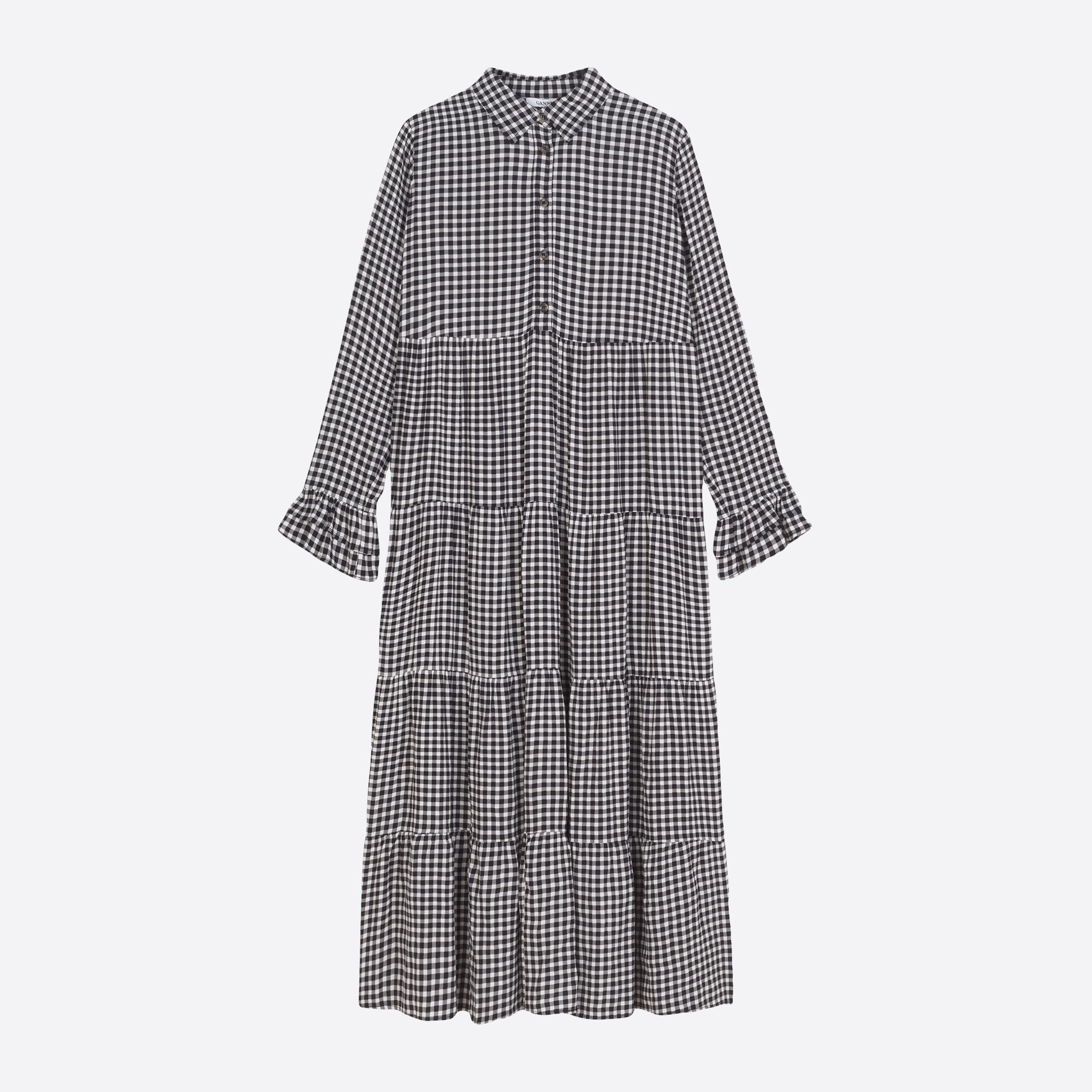 Ganni Printed Crepe Layer Dress in Black Gingham