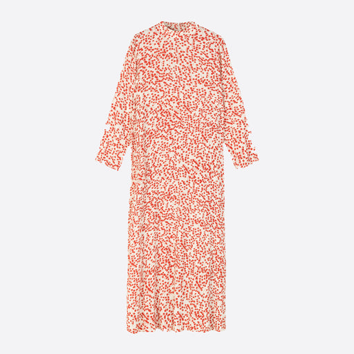 Ganni Printed Crepe Dress in Egret
