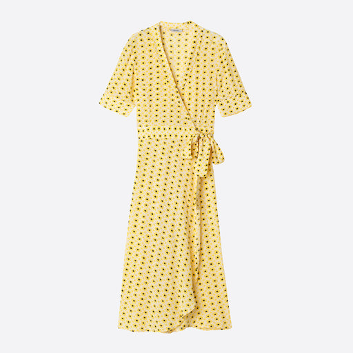 Ganni Printed Wrap Dress in Maize