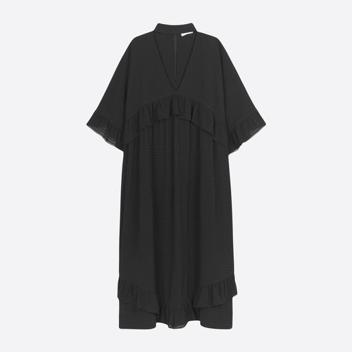 Ganni Light Seersucker Maxi Dress in Black