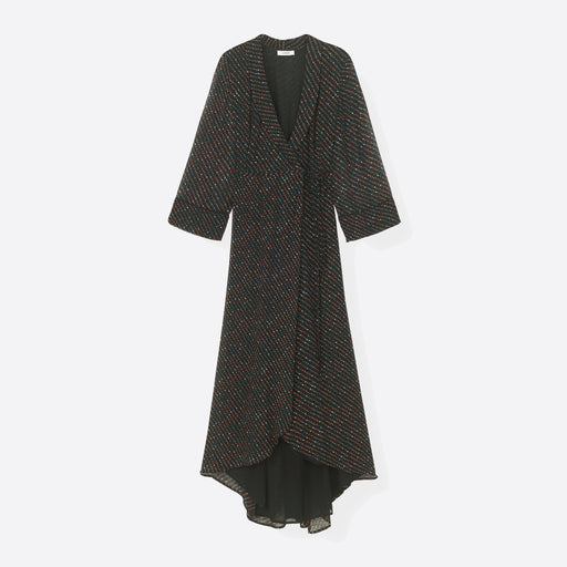 Ganni Mullin Georgette Wrap Dress in Black