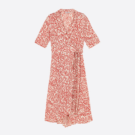 Ganni Crepe Wrap Dress in Egret