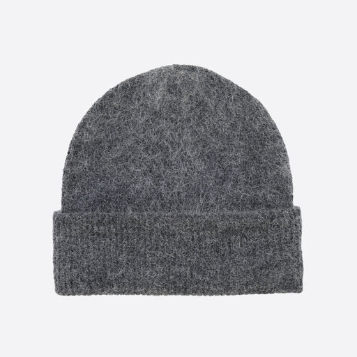 Ganni Callahan Soft Wool Knit Hat in Ebony Melange
