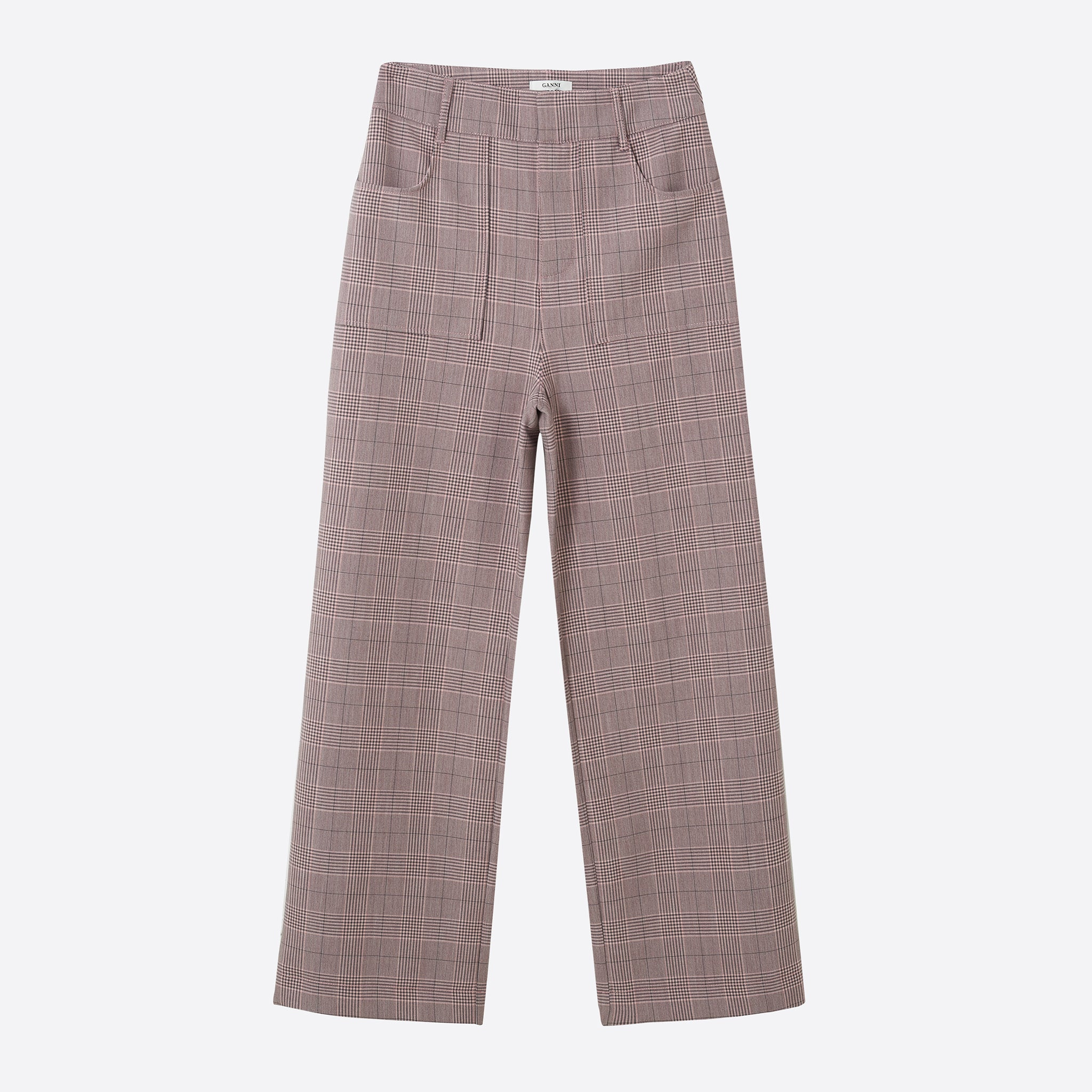 Ganni Hewitt Wide Leg Suiting Pants in Silver Pink
