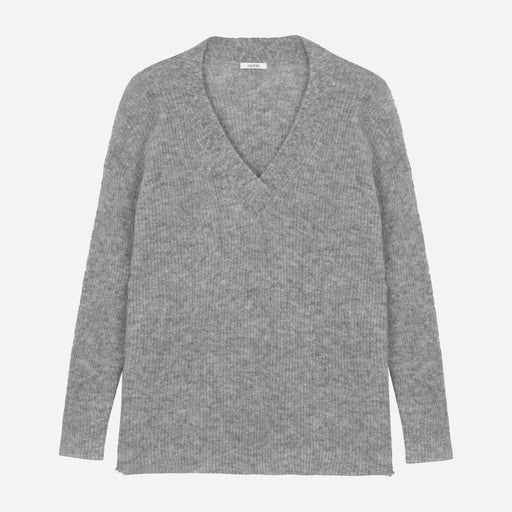 Ganni Soft Wool Knit V-neck Pullover in Paloma Melange
