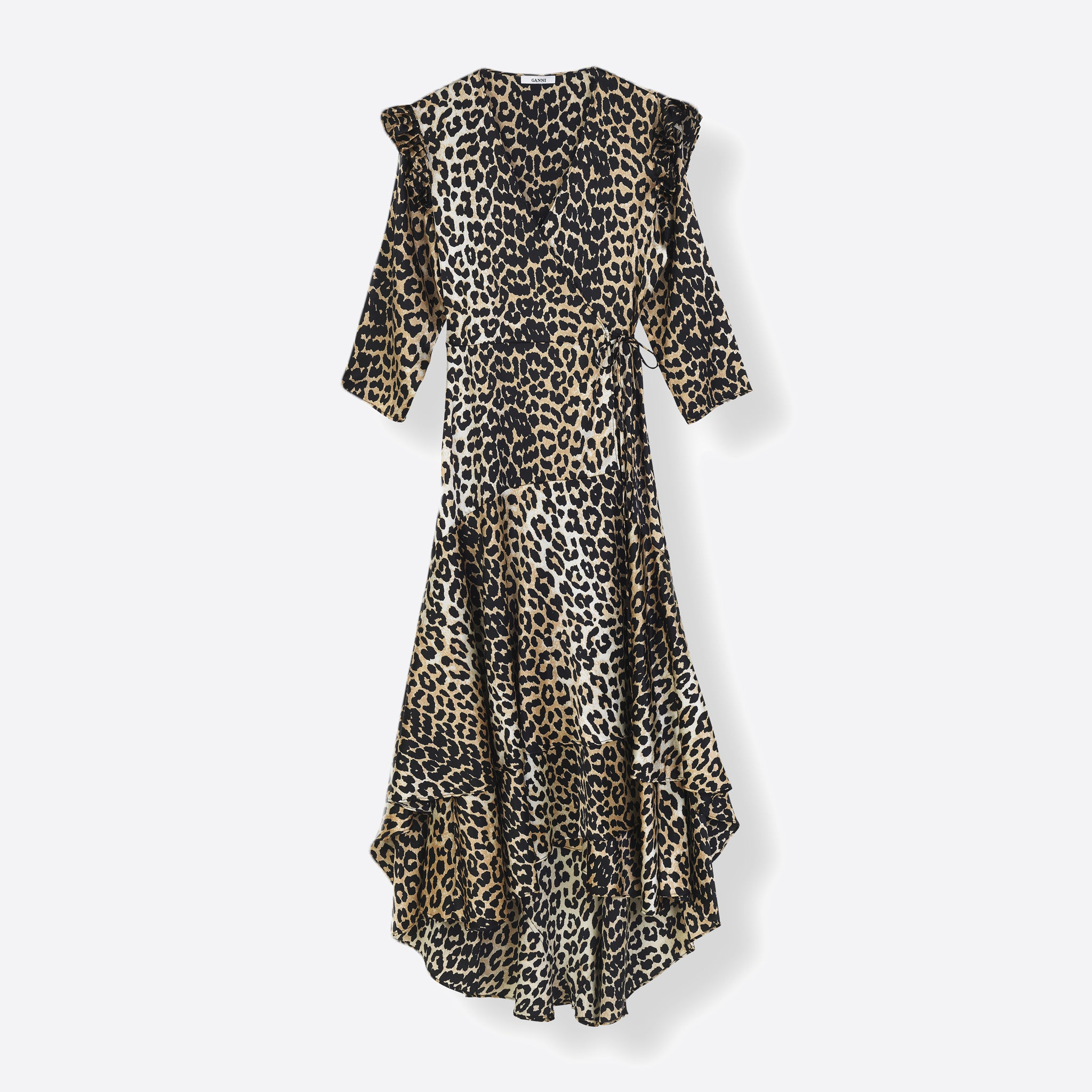 Ganni Calla Wrap Silk Dress in Leopard Print