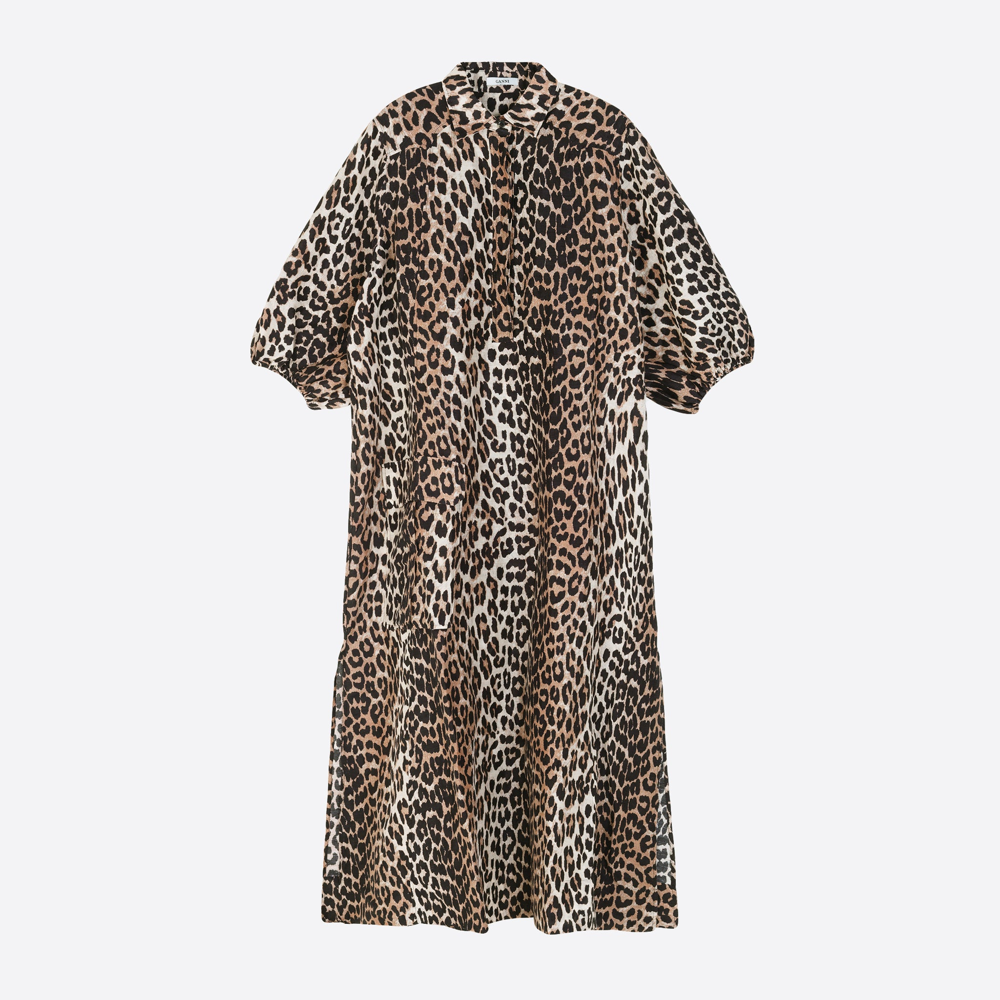 Ganni Oversized Shirt Dress in Leopard
