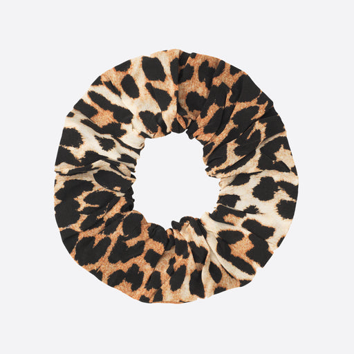 Ganni Silk Mix Scrunchie in Leopard