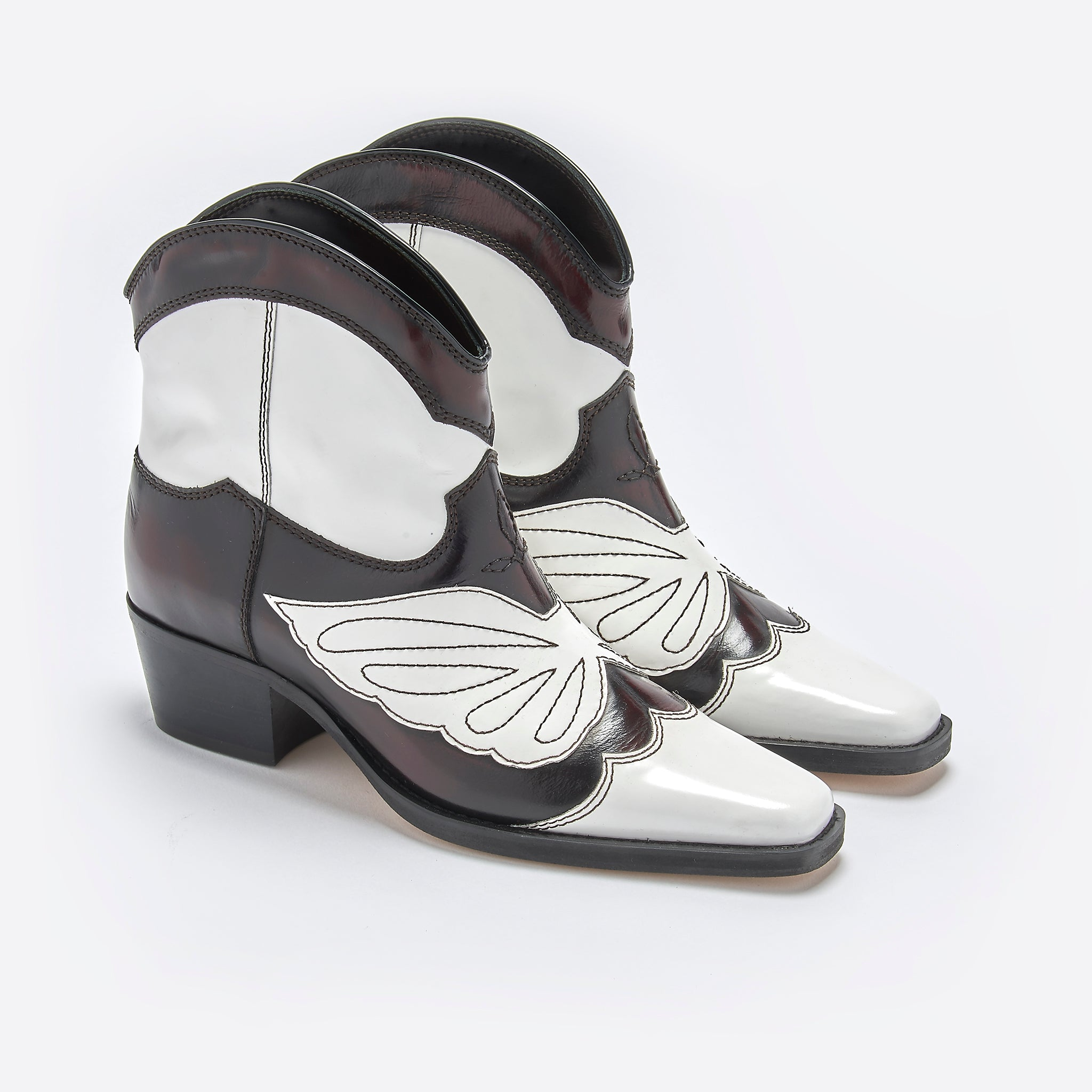 Ganni Meg Boot in Dark Brown and White