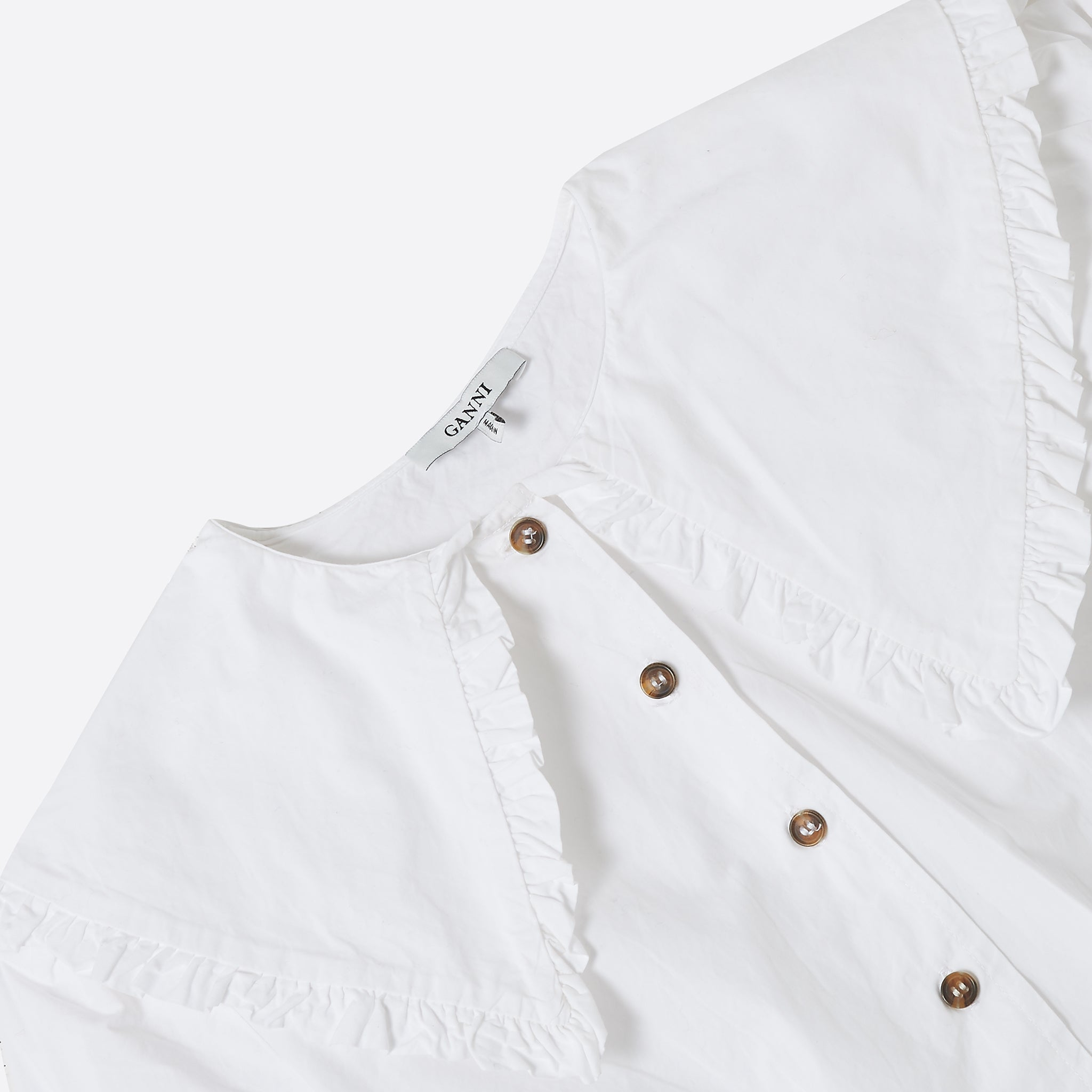 Ganni Olayan Cropped Shirt in White